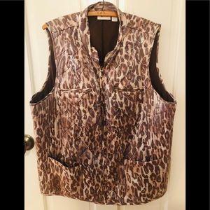 Chico's vest printed size 3 zip up sz 16